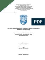 Análisis Del Sistema Preventivo de Accidentes de Trabajo en Las Pequeñas Empresas de La Construcción