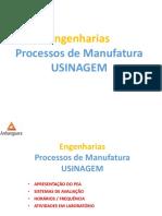 Processos de Fabricação - Usinagem - Aulas 2016-2