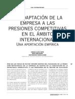 A Adaptación de La Empresa a Las Presiones Competitivas en El Ámbito Internacional Una Aportación Empírica