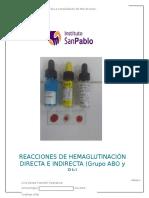 Reacciones de Hemaglutinación Directa e Indirecta