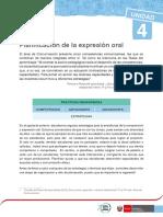 PLANIFICACIÓN DE LA EXPRESIÓN ORAL  2015-RHM