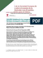 Guías 2016 de La Sociedad Europea de Cardiología Sobre El Manejo de La Fibrilación Auricular