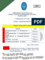 CAMPEONATO MAGISTERIAL PROGRAMACIÓN 10° FECHA FUTSAL MASTER