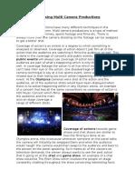 analysing multi camera productions - essay