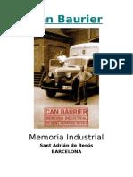Memoria Industrial de Can Baurier - Castellano