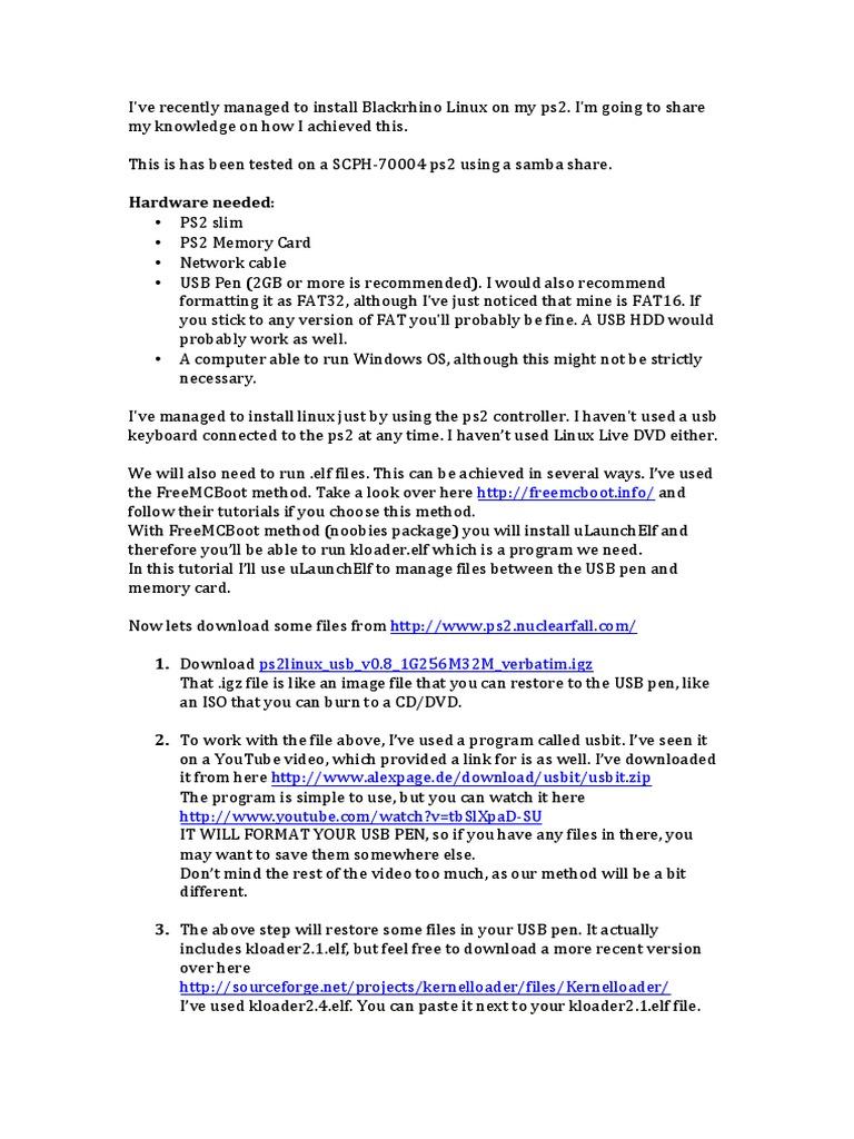 ps2_slim_linux_smb_tutorial pdf | Computer Architecture | System