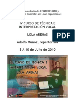 IV CURSO DE TÉCNICA E INTERPRETACIÓN VOCAL 2010