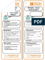Grammar Practice Reference Card Modals Must and Mustnt