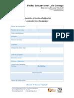 Formulario de Inscripción de Listas 2016-2017