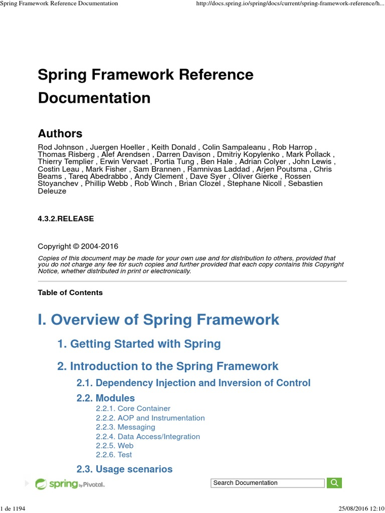 Spring Framework Reference Documentation pdf | Spring
