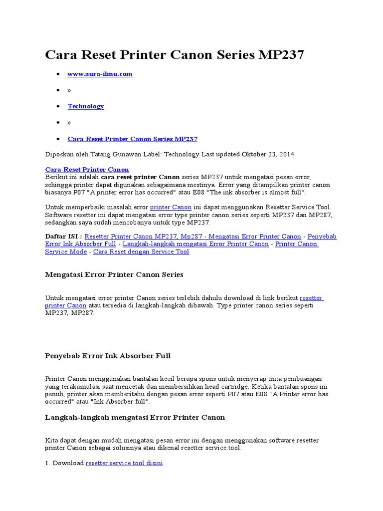 Cara Reset Printer Canon Series MP237