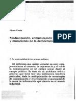 Mediatización, Comunicación Política y Mutaciones de La Democracia