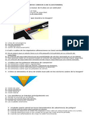 Cuestionario Examen De Conducir Clase B Chile Neumatico Peatonal