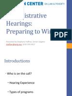 Administrative Hearings - Preparing to Win