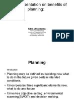 Presentation on Benefits of Planning