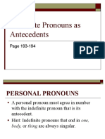 Indefinite Pronouns as Antecedents PPT