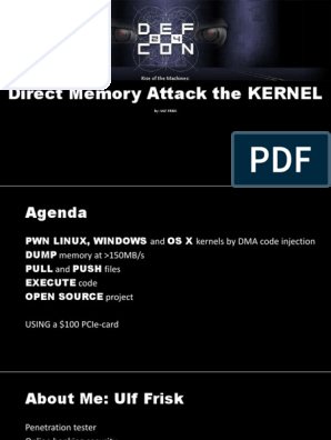 DEFCON 24 Ulf Frisk Direct Memory Attack the Kernel | Kernel