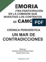 MEMORIA DE NUESTRA PARTICIPACIÓN EN LA COMISIÓN QUE INVESTIGÓ LOS CONTRATOS DE CAMC CRÓNICA PERIODÍSTICA UN MAR DE CONTRADICCIONES.