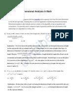 Dimensional Analysis in Math