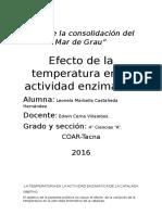 Efecto de La Temperatura en La Actividad Enzimatica de La Catalasa