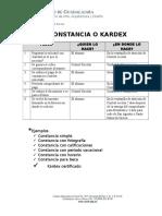 Constancia o Kardex