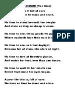 Form 3 Poem - Leisure