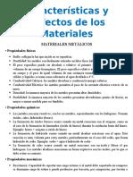Características y Defectos de Los Materiales