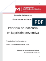 El Principio de Presunción de Inocencia en La Prisión Preventiva