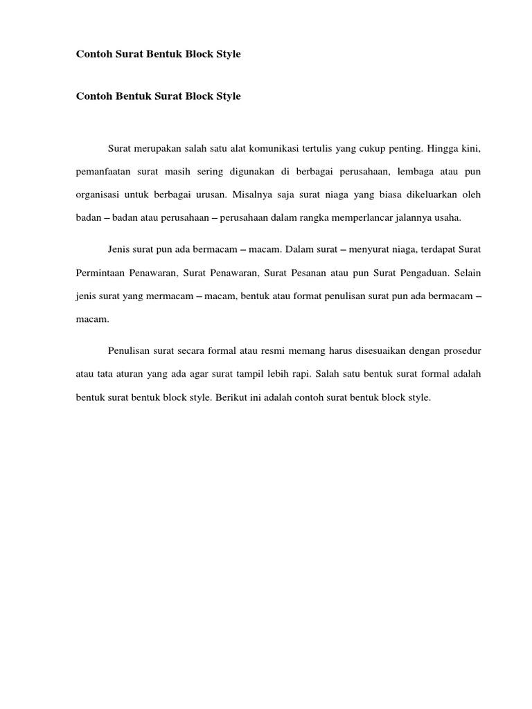 Contoh Surat Bentuk Block Style