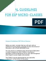 General Guidelines ESP Microclasses