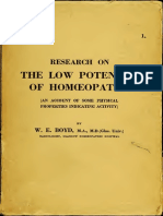 Research on the Low Potencies of Homeopathy