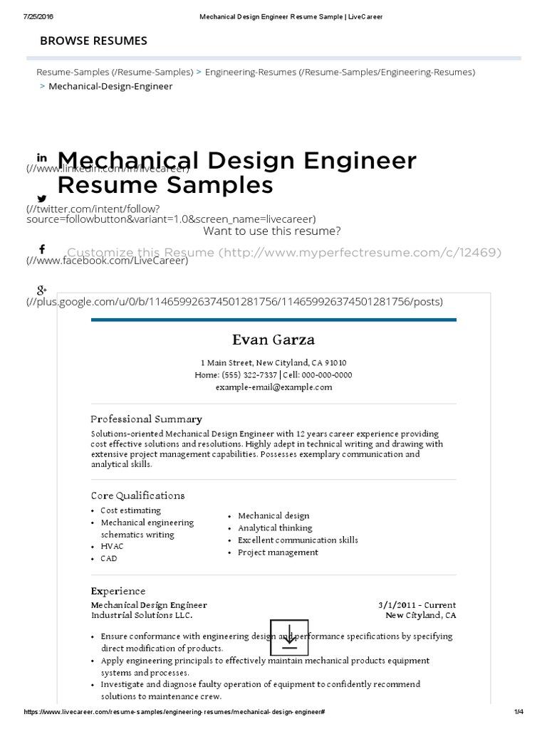 Mechanical Design Engineer Resume Sample Livecareer Resume