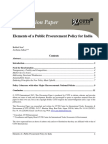 Elements of a Public Procurement Policy for India