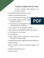Affiliation Proforma Points