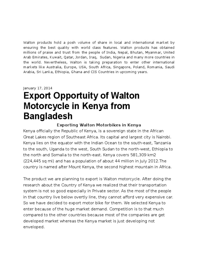 Walton Products Hold a Posh Volume of Share in Local and ... on