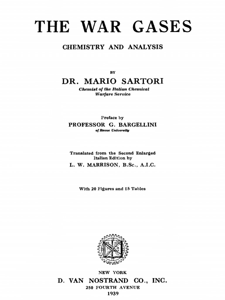 The War Gases by Dr. Mario Sartori (most sought after out-of-print) |  Valence (Chemistry) | Chemical Warfare