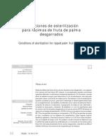 Condiciones de Esterilización Para Racimos de Fruta de Palma Desgarrados