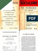Socialisme ou barbarie 31 décembre 1960-février 1961