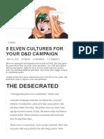 5 Elven Cultures for Your D&D Campaign