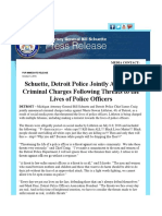 Schuette, Detroit Police Jointly Announce Criminal Charges Following Threats to the Lives of Police Officers