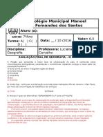 Prova Final de Geografia - III Unidade - 7º Ano - 2016 - Gabarito