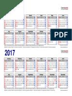 Two Year Calendar 2016 2017 Landscape 2 Rows