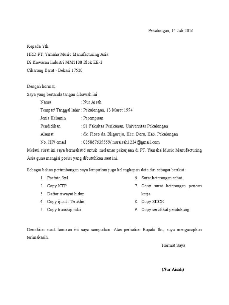 Surat Lamaran Kerja Yamaha Music