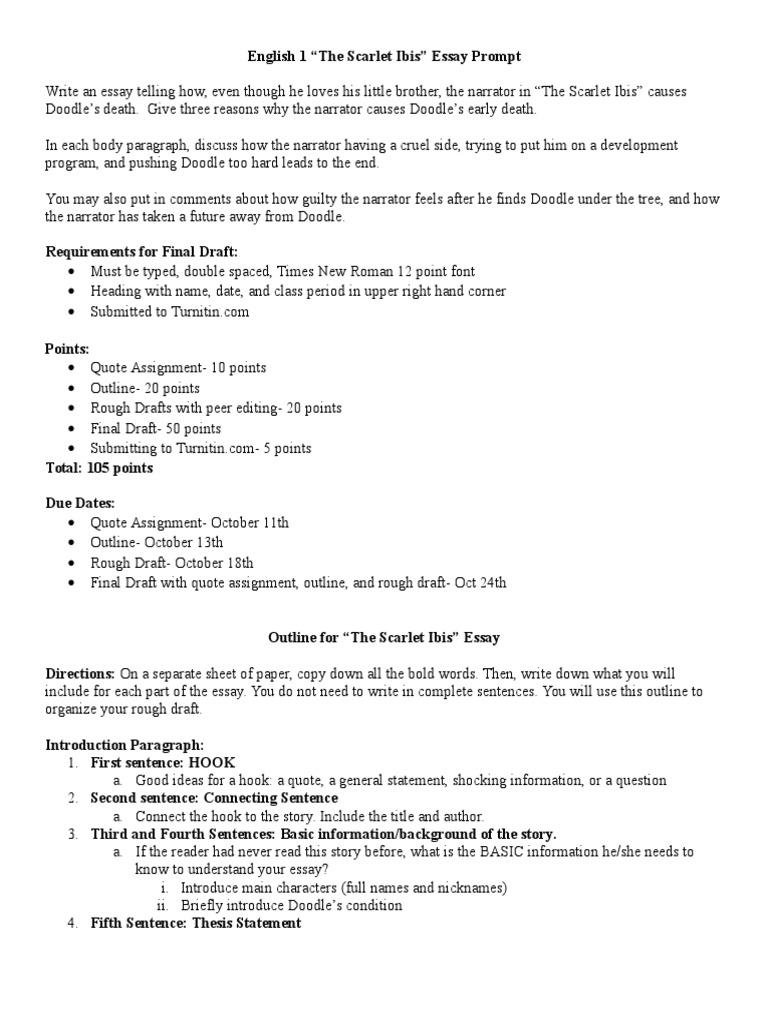 Scarlet Ibis Essay Paragraph – The Scarlet Ibis Worksheet