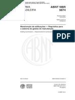 NBR 5674 Manutenção de Edificações - Requisitos Para o Sistema de Gestão de Manutenção
