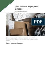 Proceso Para Reciclar Papel Paso a Paso