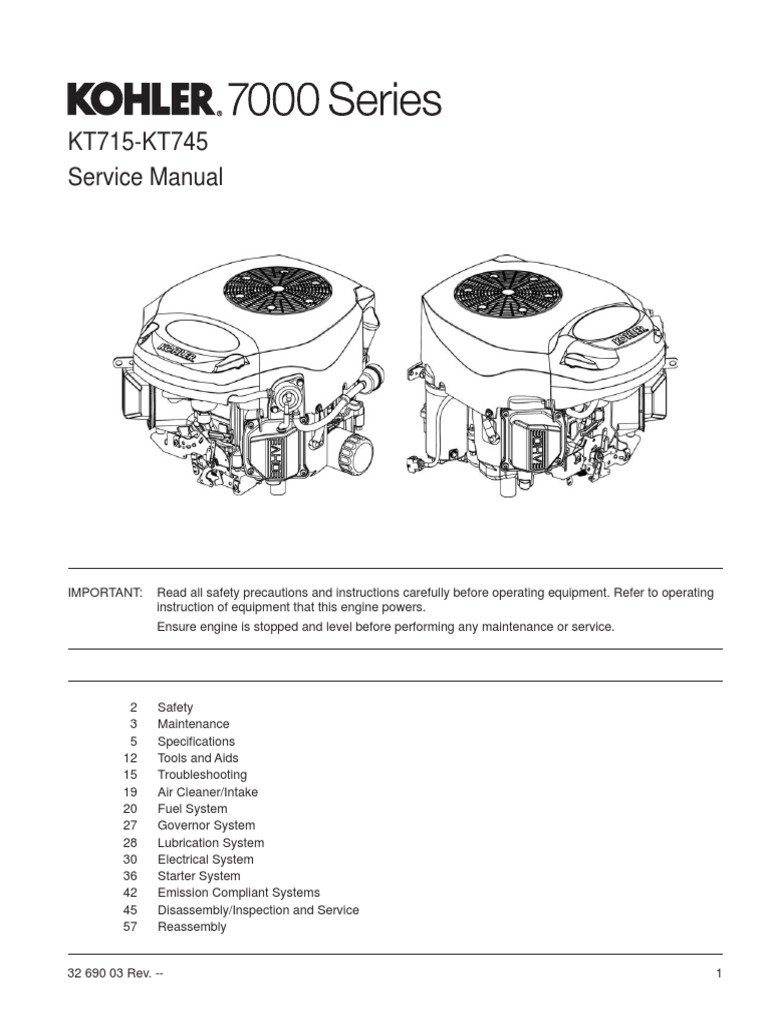 Kohler 7000 series shop manual carburetor gasoline publicscrutiny Gallery