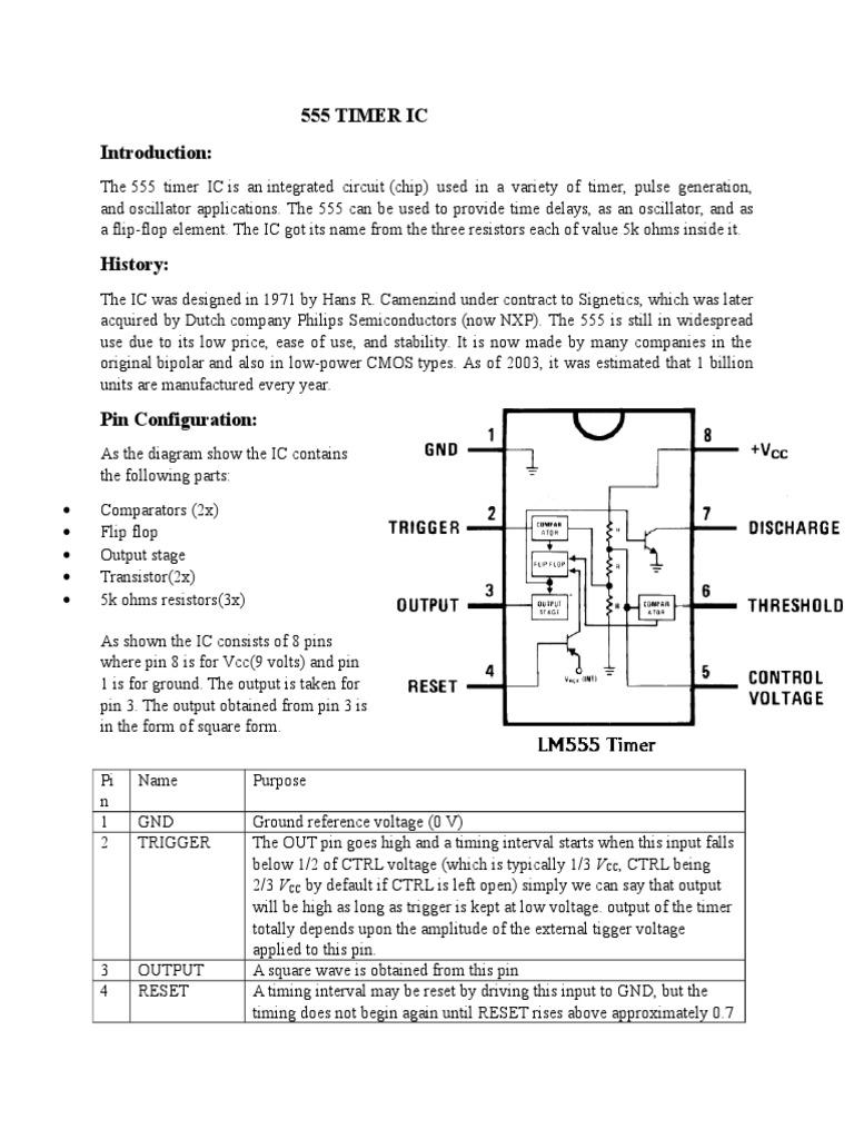 555 Timer Ic Electrical Engineering Electronic Circuits Pdf
