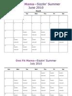 Sizzlin Summer Calendar