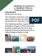 Aronite Thinking-Terrorist Ultimatum to Bhuddhist Tribals- Convert to Christianity